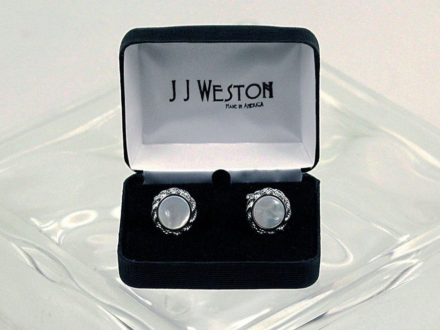 Boy's Cuff Links 16580 Silver/Pearl Boys Cufflinks J.J. Weston
