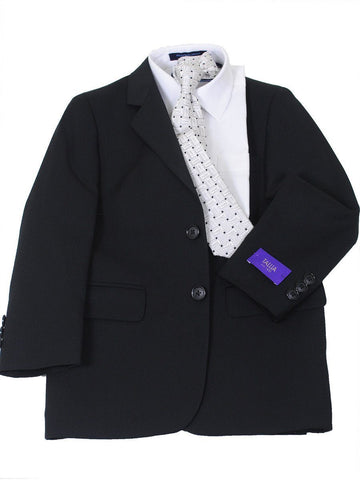 Image of Tallia 16583 65% Polyester/35% Rayon Boy's Suit - Solid Gabardine - Black Boys Suit Tallia