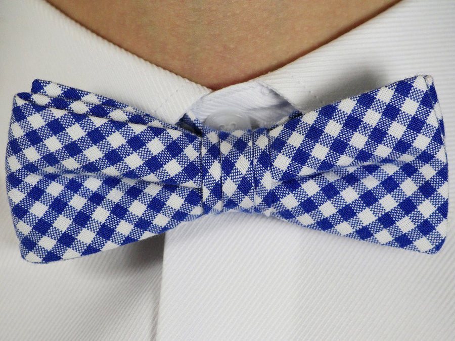 Boy's Bow Tie 16602 Royal Blue/White Gingham Boys Bow Tie High Cotton