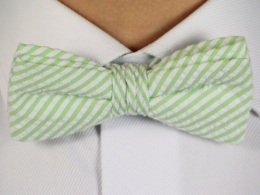 Boy's Bow Tie 16603 Mint/White Stripe Boys Bow Tie High Cotton