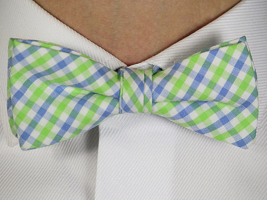 Boy's Bow Tie 16604 Blue/Green/White Check Boys Bow Tie High Cotton