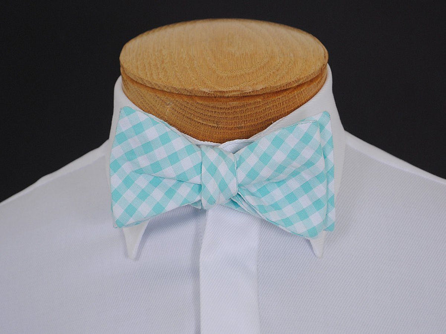 Boy's Bow Tie 16607 Aqua/White Check Boys Bow Tie High Cotton