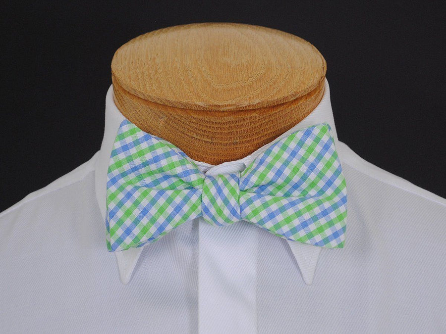 Boy's Bow Tie 16610 Blue/Green/White Check Boys Bow Tie High Cotton