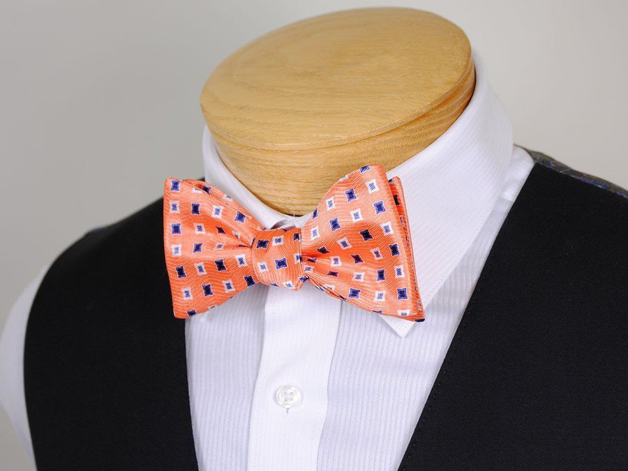 Boy's Bow Tie 16673 Orange/Blue/White Neat Boys Bow Tie Heritage House