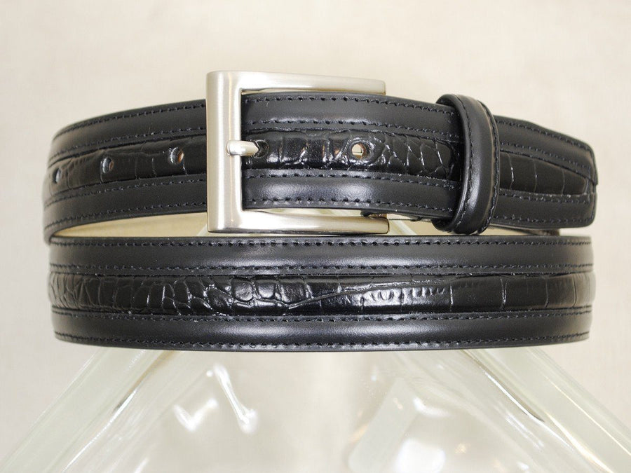 B/Master 16698 Genuine Italian leather Boy's Belt - Crocodile styled trim - Black, Silver Buckle Boys Belt B/Master