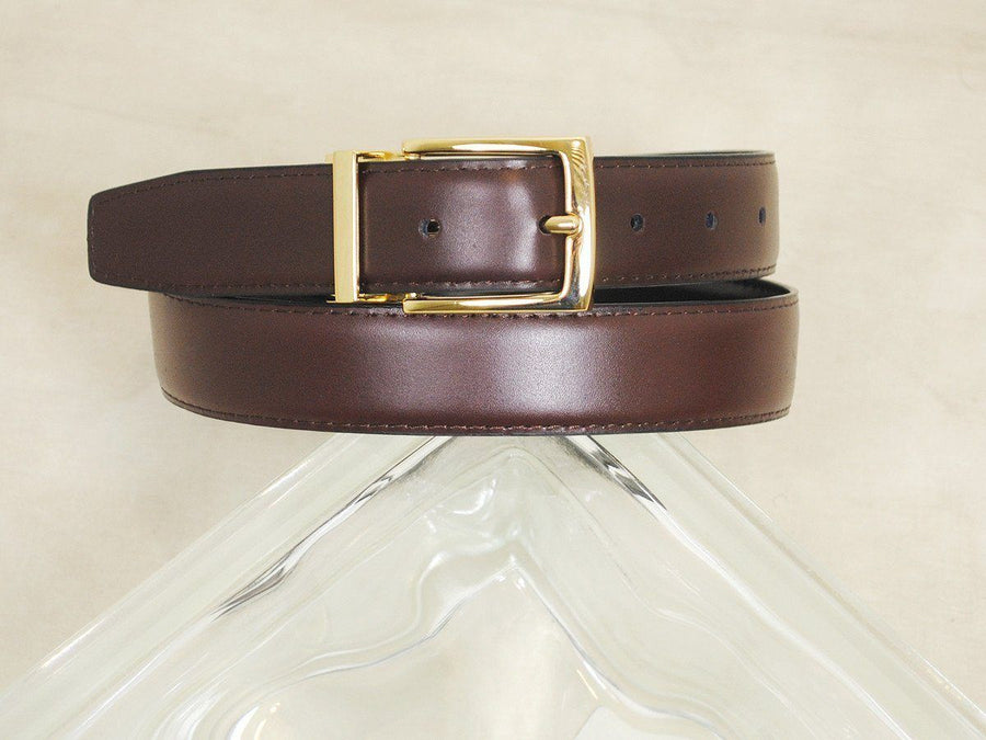 B/Master 16730 Genuine leather Boy's Belt - Smooth leather finish - Black / Brown, Gold Buckle and Keeper Boys Belt B/Master