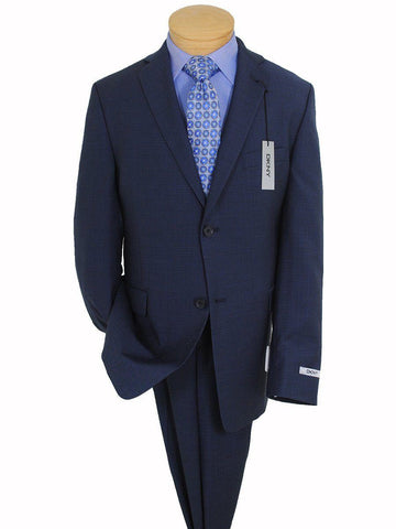 Image of DKNY 16740 100% Wool Boy's Suit - Mini-check - Blue Boys Suit DKNY