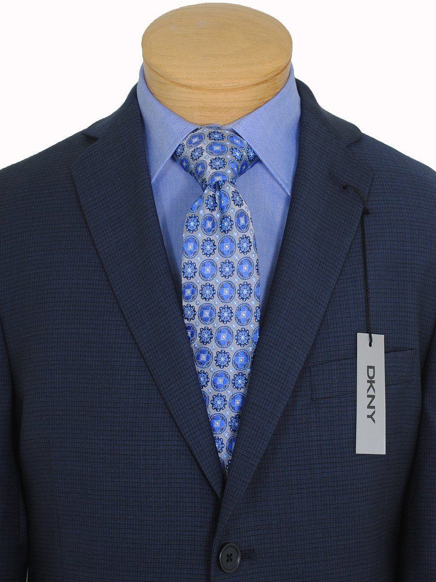 DKNY 16740 100% Wool Boy's Suit - Mini-check - Blue Boys Suit DKNY