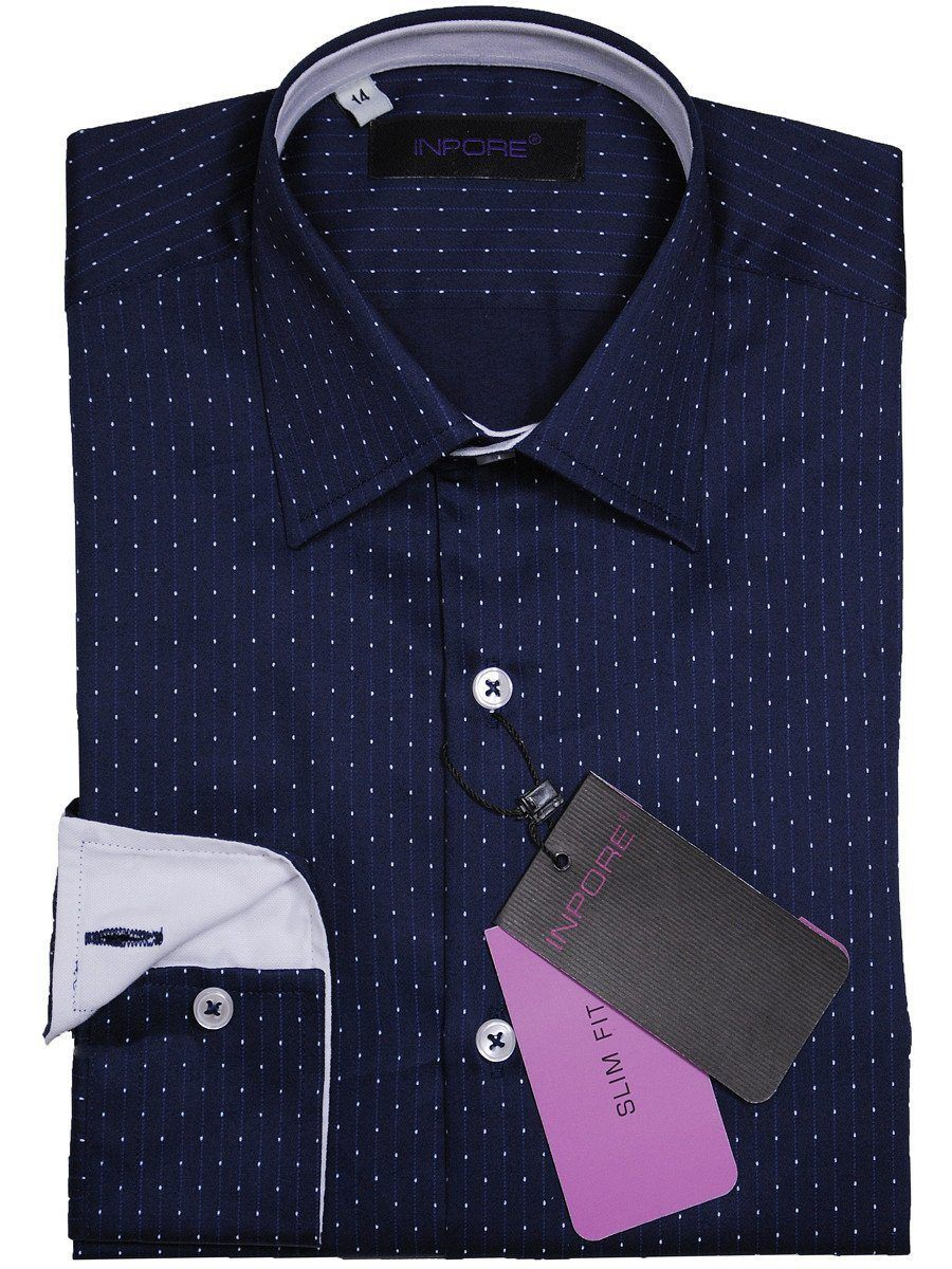 Inpore 16852 100% Cotton Boy's Dress Shirt - Dots - Navy/White, Long Sleeve Boys Dress Shirt Inpore