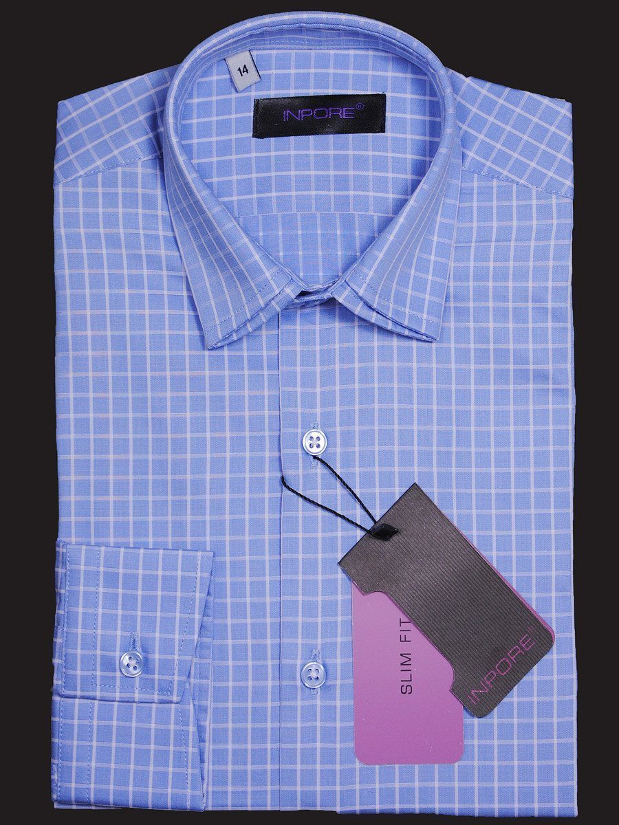 Inpore 16873 Blue/White Slim Fit Boy's Dress Shirt - Check - 100% Cotton - Long Sleeve - Button Cuff - Doubled spread collar Boys Dress Shirt Inpore