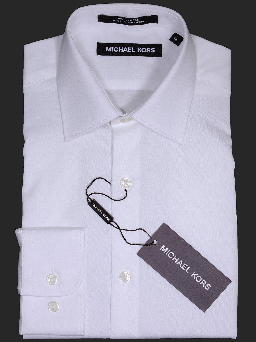 Michael Kors 17100 White Boy's Dress Shirt - Solid Broadcloth - 100% Cotton - Long Sleeve - Button Cuff Boys Dress Shirt Michael Kors