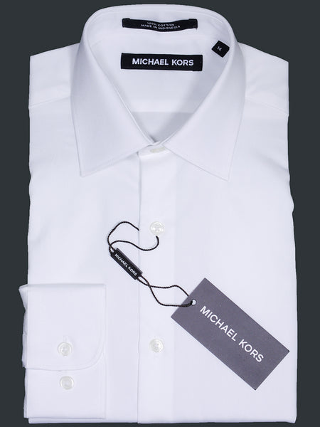 Michael Kors 17100 White Boy's Dress Shirt - Solid Broadcloth - 100% Cotton - Long Sleeve - Button Cuff