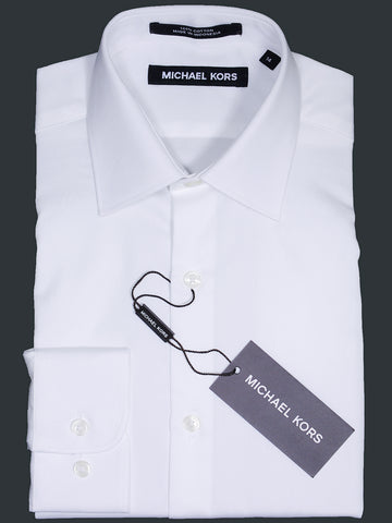 Image of Michael Kors 17100 White Boy's Dress Shirt - Solid Broadcloth - 100% Cotton - Long Sleeve - Button Cuff