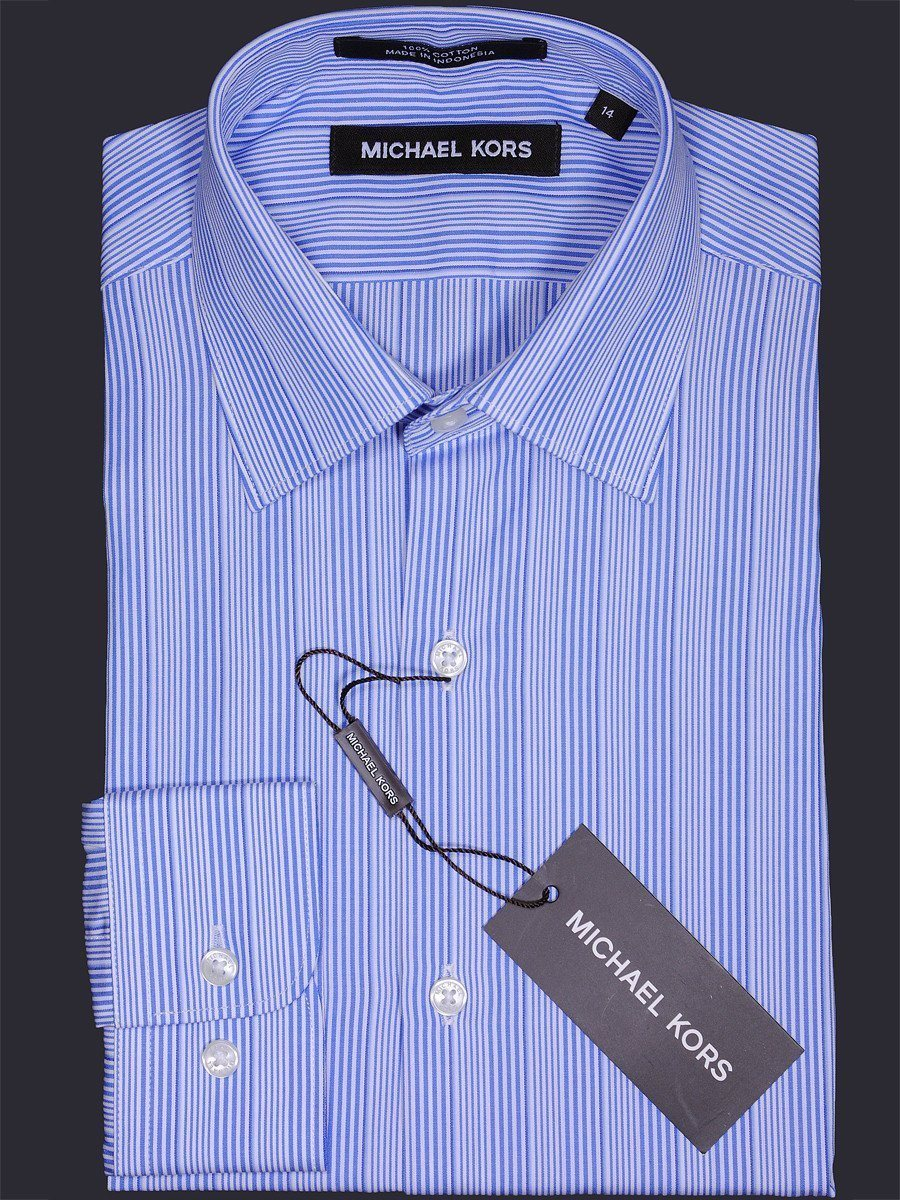 Michael Kors 17151 Blue/White Boy's Dress Shirt - Stripe - 100% Cotton - Long Sleeve- Button Cuff Boys Dress Shirt Michael Kors
