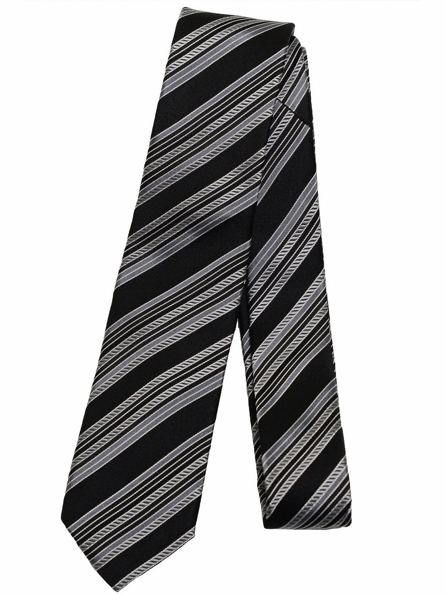 Heritage House 17242 Black / Silver Boy's Tie - 100% Silk Woven Boys Tie Heritage House