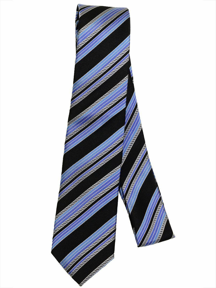 Heritage House 17244 100% Silk Boy's Tie - Diagonal Stripes - Black / Silver / Blue Boys Tie Heritage House