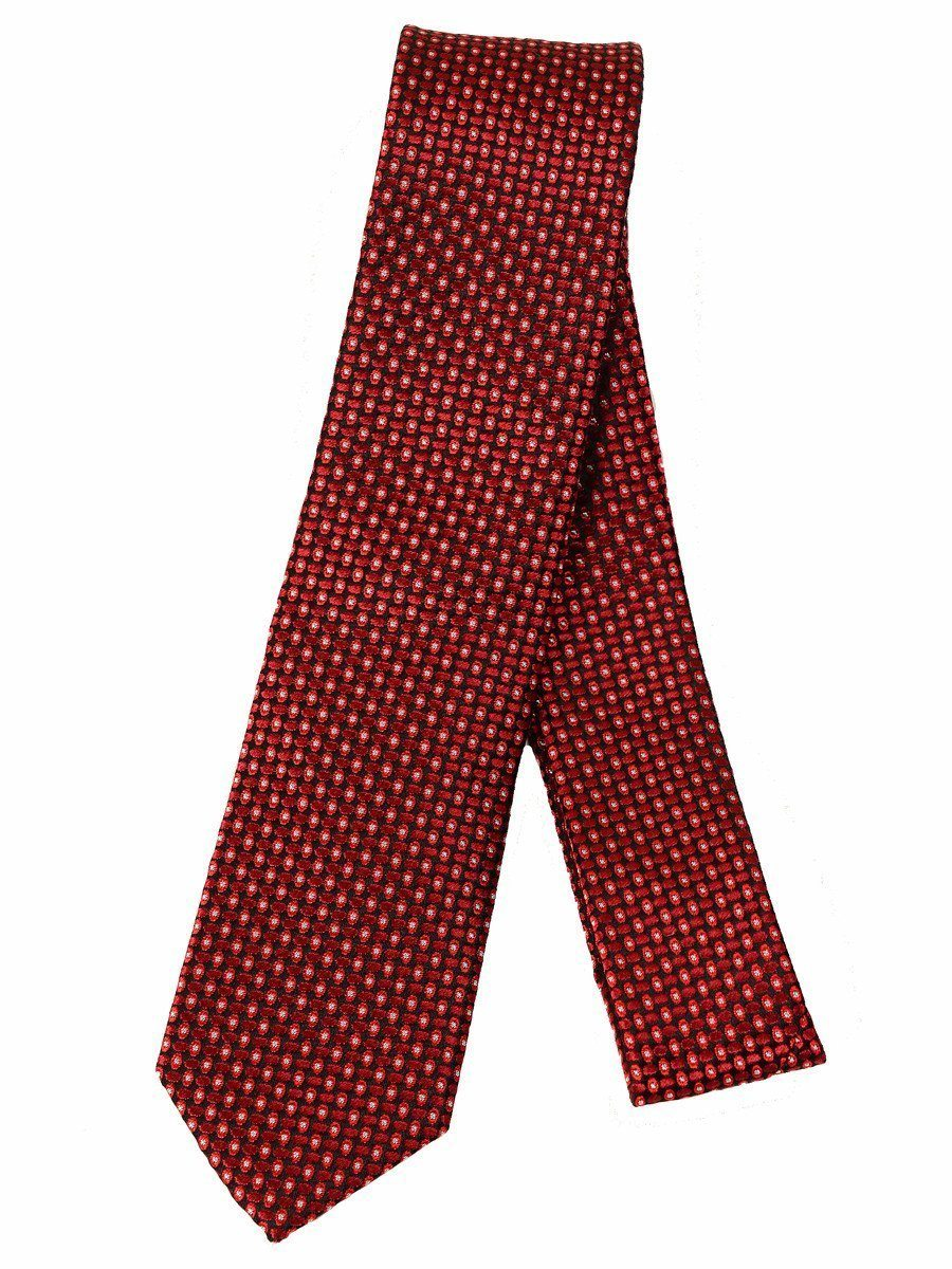 Heritage House 17261 100% Silk Woven Boy's Skinny Tie - Neat - Red / Black, Wool blend lining Boys Tie Heritage House