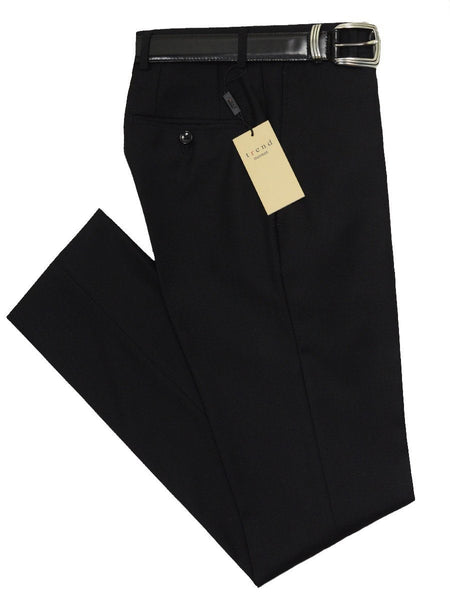 Trend by Maxman 17274P 100% Wool Young Men's Skinny Dress Pant - Solid Gabardine - Black, Plain Front