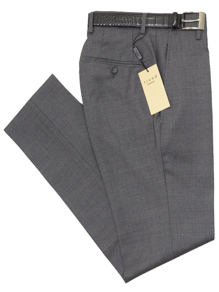 Trend by Maxman 17322P 100% Wool Young Men's Skinny Dress Pant - Solid Gabardine - Gray, Plain Front