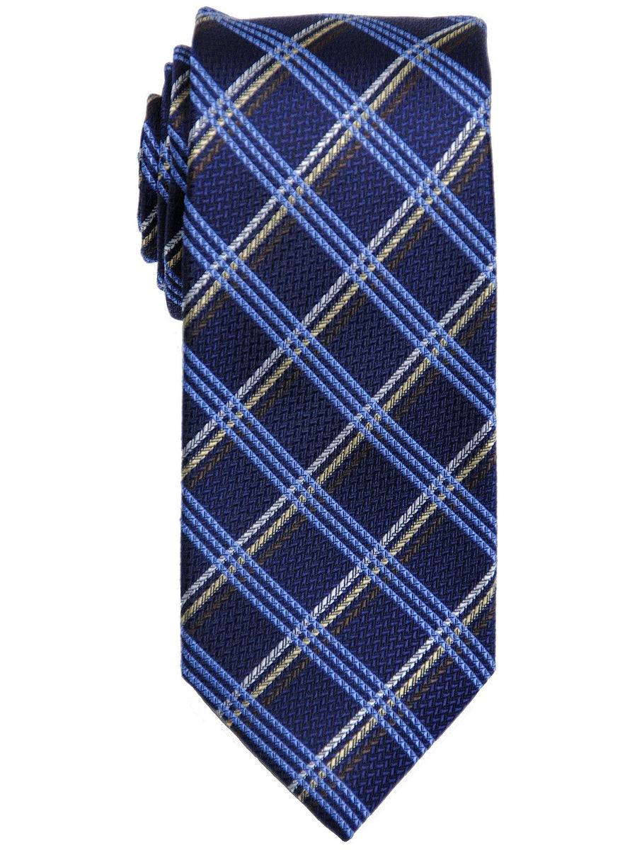Heritage House 17443 100% Woven Silk Boy's Tie - Plaid - Navy/Khaki Boys Tie Heritage House