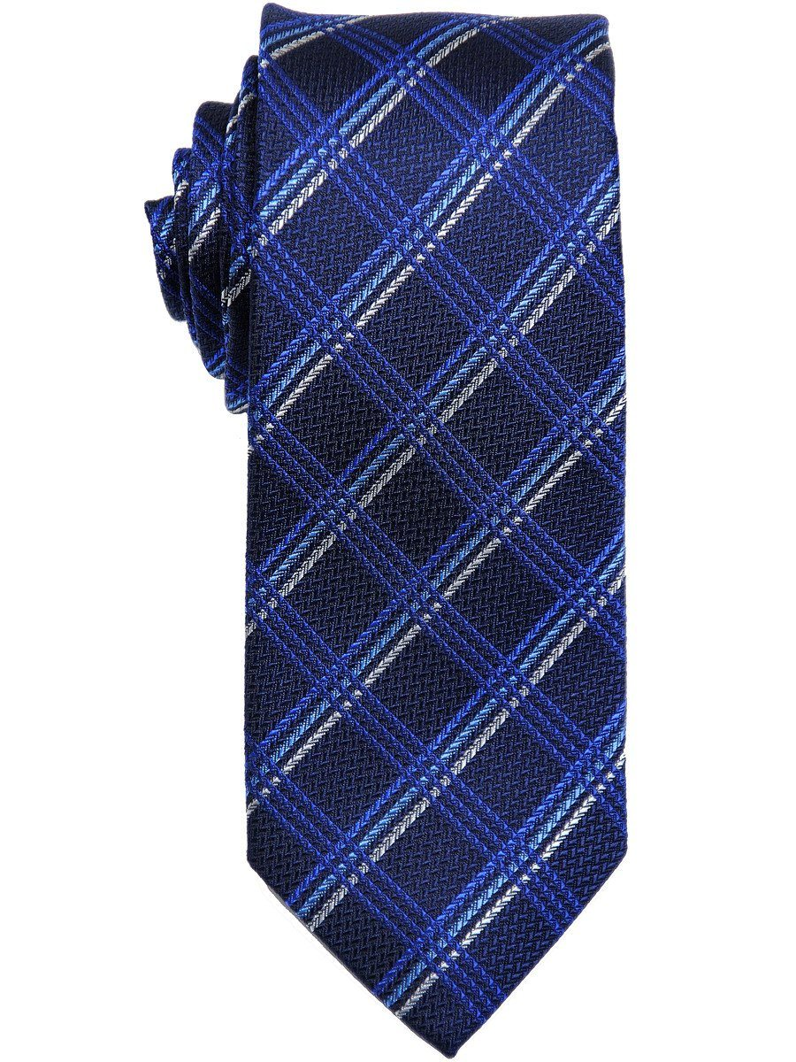 Heritage House 17444 100% Woven Silk Boy's Tie - Plaid - Black/Blue