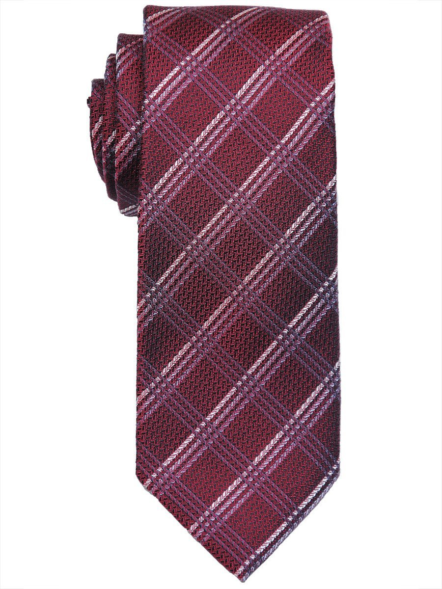 Heritage House 17445 100% Woven Silk Boy's Tie - Plaid - Red/Grey