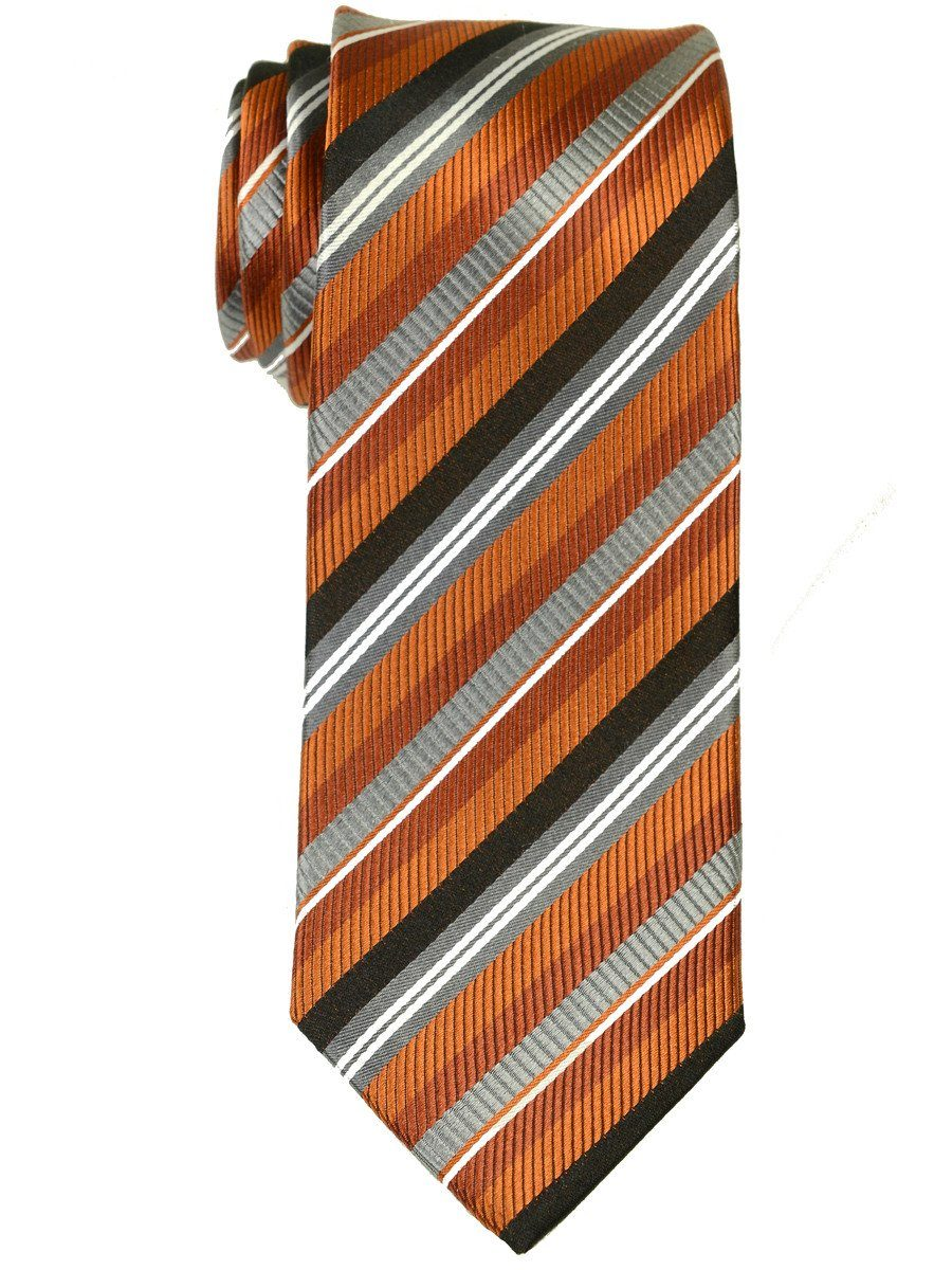Heritage House 17457 100% Woven Silk Boy's Tie - Stripe - Orange/Black/Grey Boys Tie Heritage House