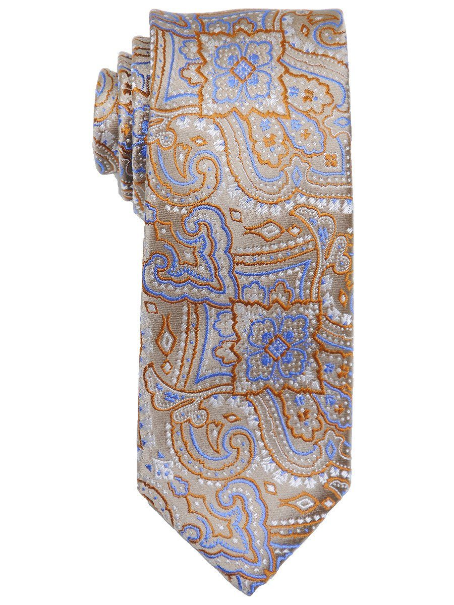 Heritage House 17476 100% Woven Silk Boy's Tie - Paisley - Tan/Blue