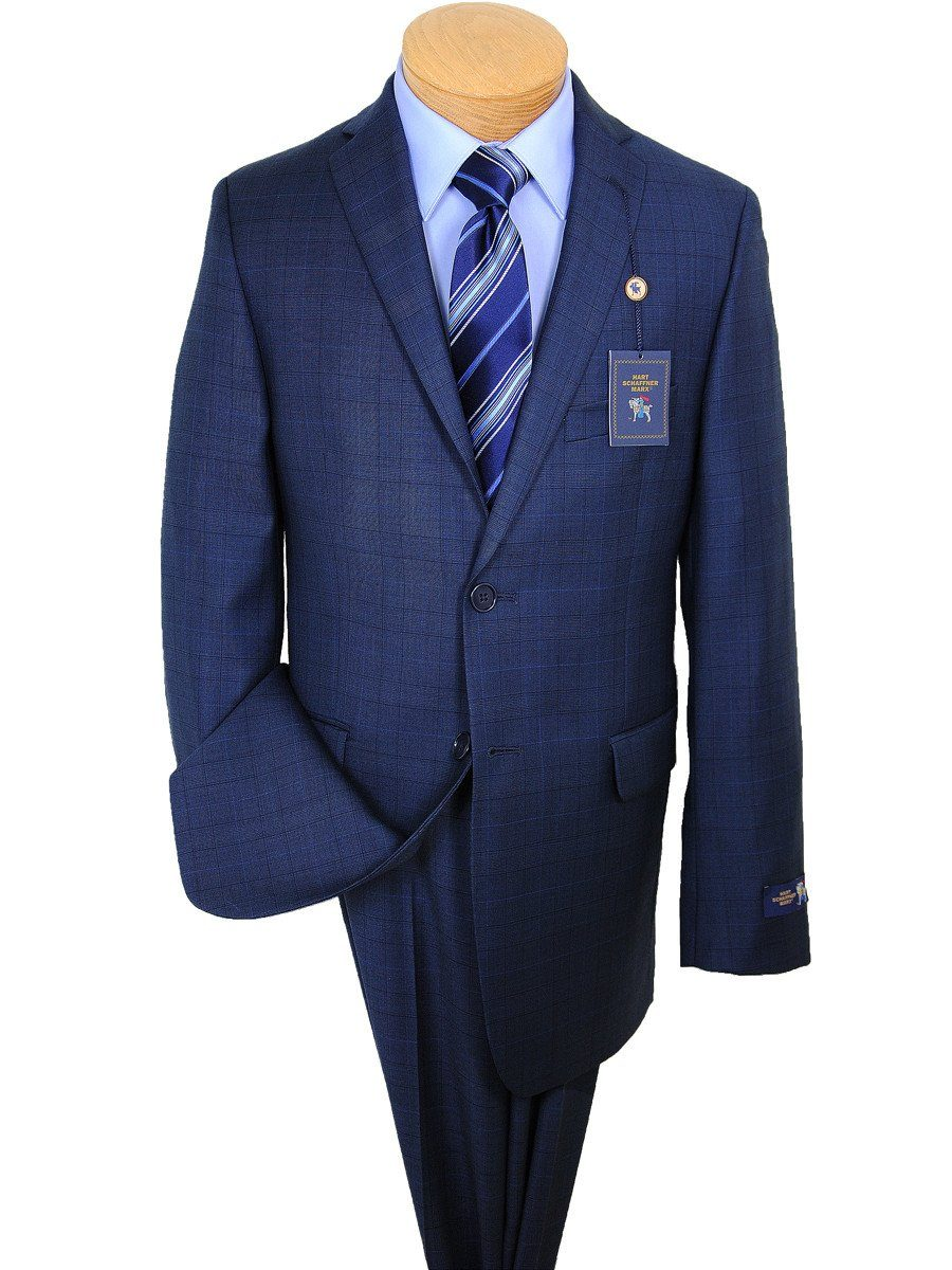 Hart Schaffner Marx 17579 Blue Boy's Suit - Glen Plaid - 100% Tropical Worsted Wool - Lined