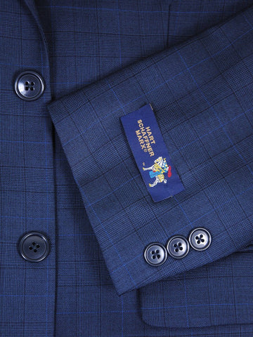 Hart Schaffner Marx 17579 Blue Boy's Suit - Glen Plaid - 100% Tropical Worsted Wool - Lined Boys Suit Hart Schaffner Marx