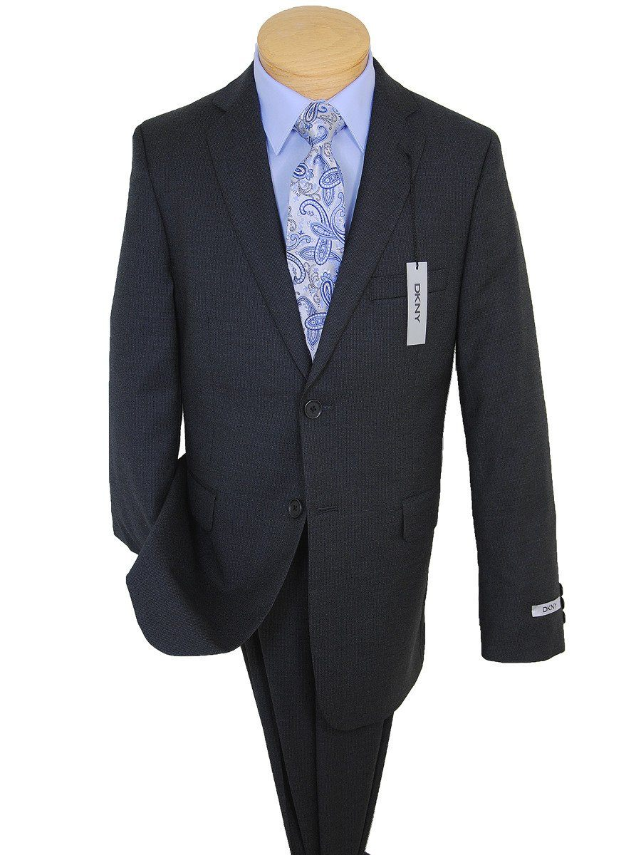 DKNY 17590 Charcoal Boy's Suit - Fine Line Stripe - 100% Tropical Worsted Wool - Lined Boys Suit DKNY