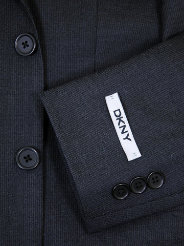 Image of DKNY 17590 Charcoal Boy's Suit - Fine Line Stripe - 100% Tropical Worsted Wool - Lined Boys Suit DKNY