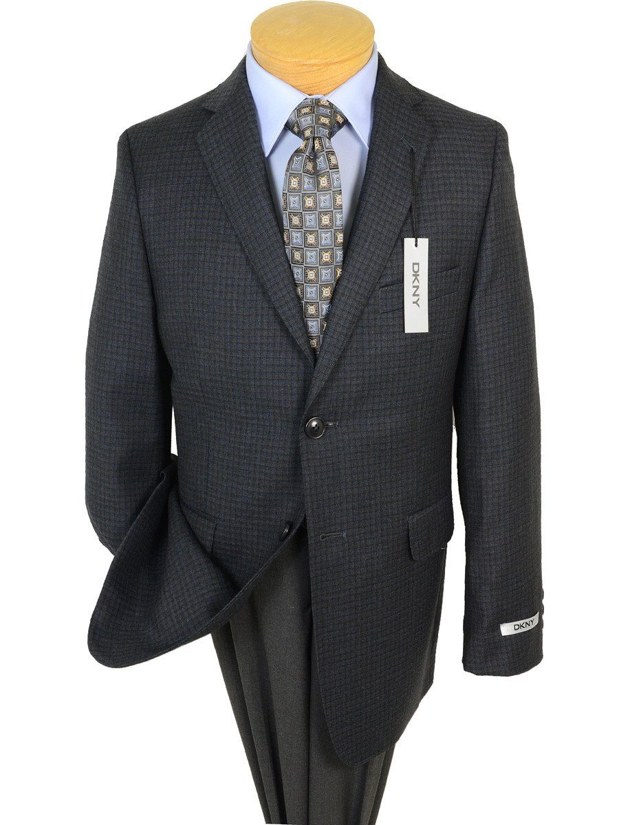 DKNY 17651 Charcoal / Blue Boy's Sport Coat - Check - 100% Tropical Worsted Wool Boys Sport Coat DKNY