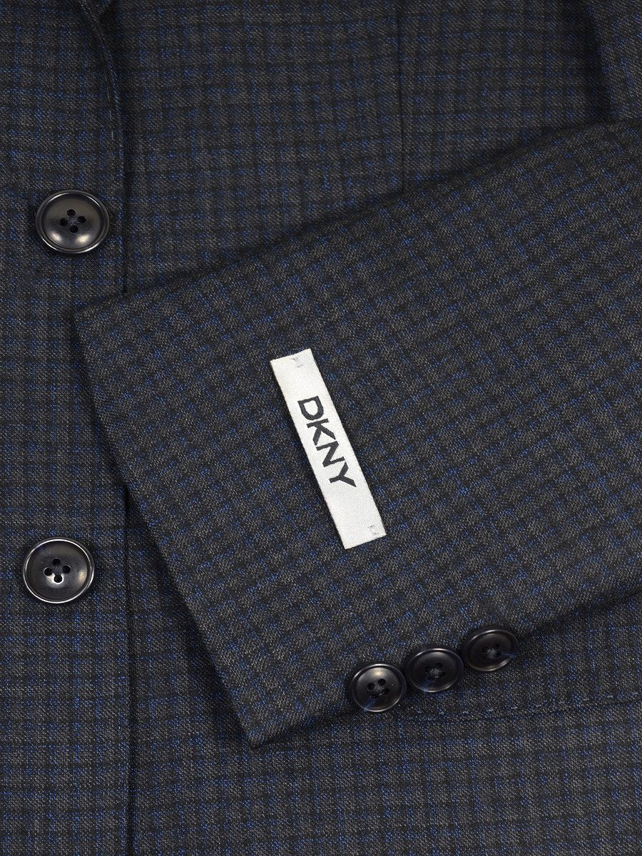 DKNY 17651 Charcoal / Blue Boy's Sport Coat - Check - 100% Tropical Worsted Wool