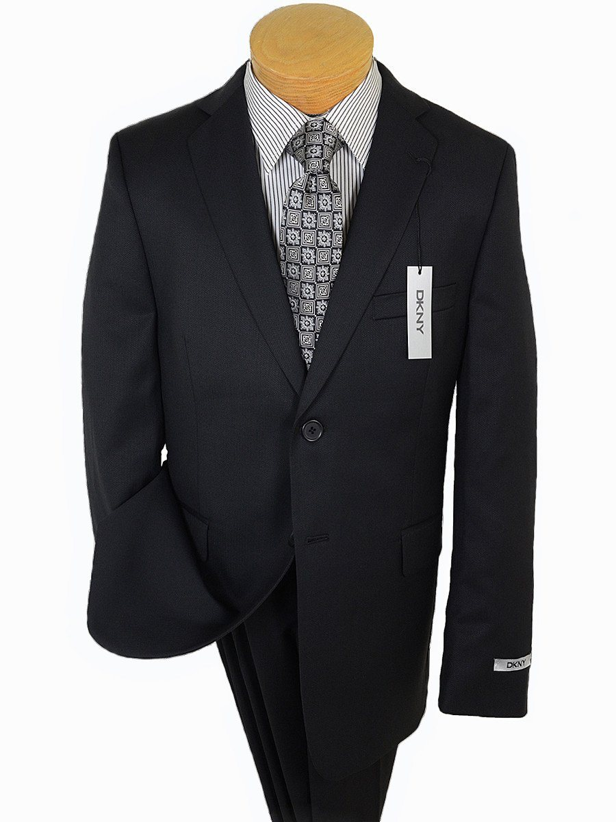 DKNY 17697 Black Boy's Suit - Tonal Herringbone - 100% Tropical Worsted Wool - Lined from
