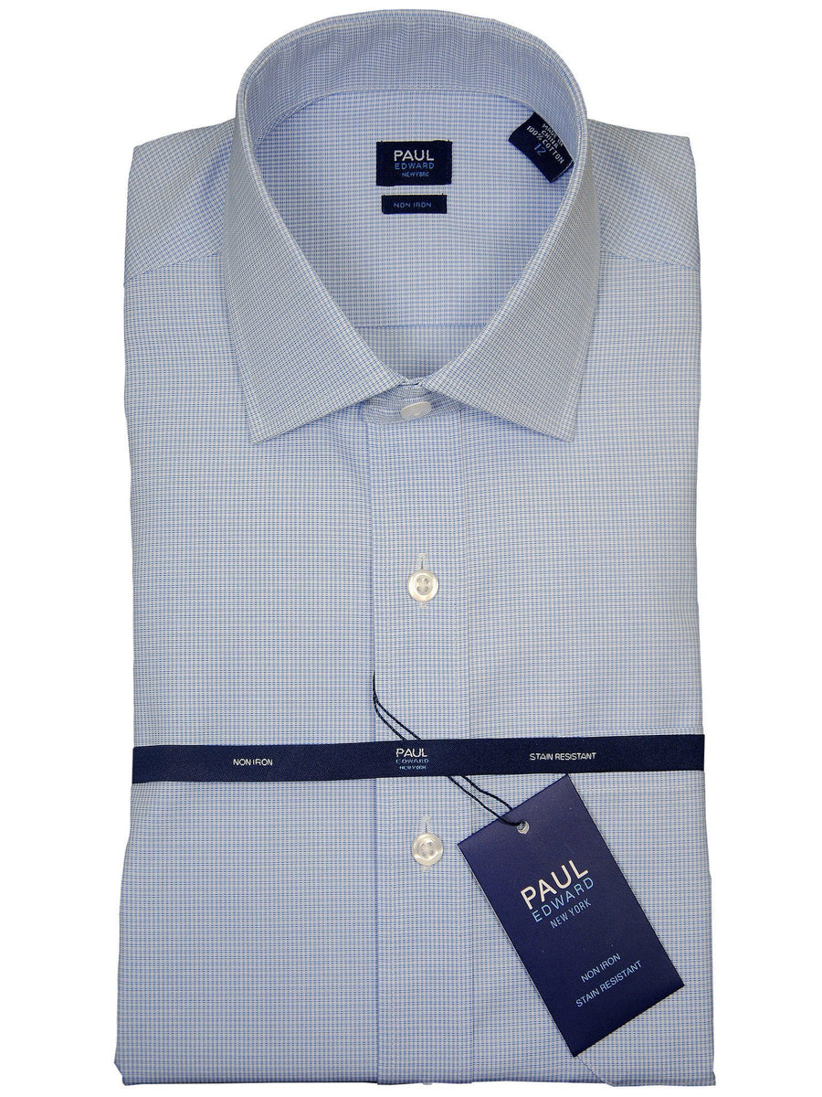 Paul Edward 17735 100% Cotton Boy's Dress Shirt - Check - Light Blue, Long Sleeve Boys Dress Shirt Paul Edward