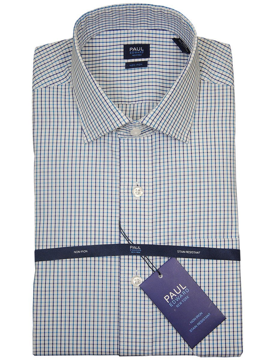 Paul Edward 17742 100% Cotton Boy's Dress Shirt - Check - Turquoise/Navy, Long Sleeve