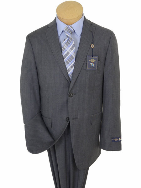 Hart Schaffner Marx 17759 100% Tropical Worsted Wool Boy's 2-Piece Suit - Tonal Herringbone with Blue accent - Grey, 2-Button Single Breasted Jacket, Plain Front Pant