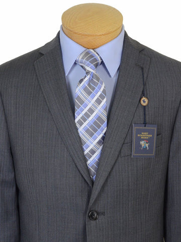 Hart Schaffner Marx 17759 100% Tropical Worsted Wool Boy's 2-Piece Suit - Tonal Herringbone with Blue accent - Gray, 2-Button Single Breasted Jacket, Plain Front Pant