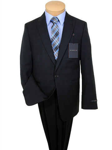 John Varvatos 17794 100% Tropical Worsted Wool Boy's 2-Piece Suit - Plaid - Black, 1-Button Single Breasted, Plain Front Pant Boys Suit John Varvatos