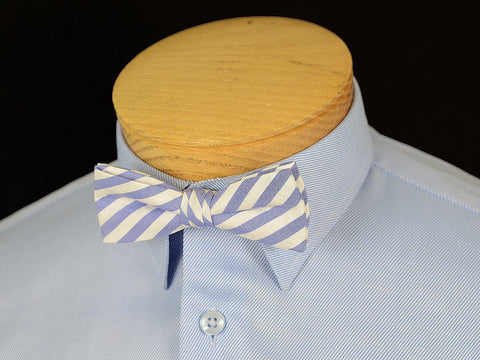 Boy's Boy Tie 17809 Blue/White Stripe Boys Bow Tie High Cotton