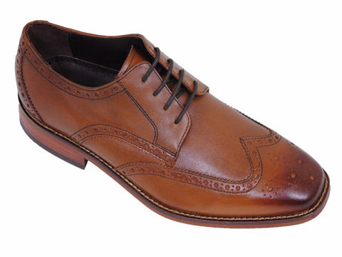 Image of Florsheim 17919 100% Leather Boy's Shoe - Wingtip Oxford - Saddle Tan Boys Shoes Florsheim