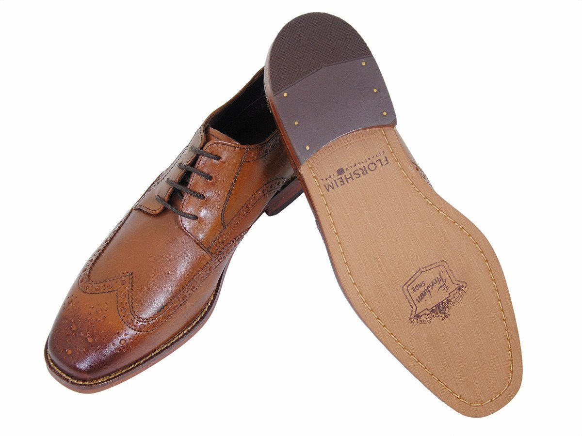 Florsheim 17919 100% Leather Boy's Shoe - Wingtip Oxford - Saddle Tan