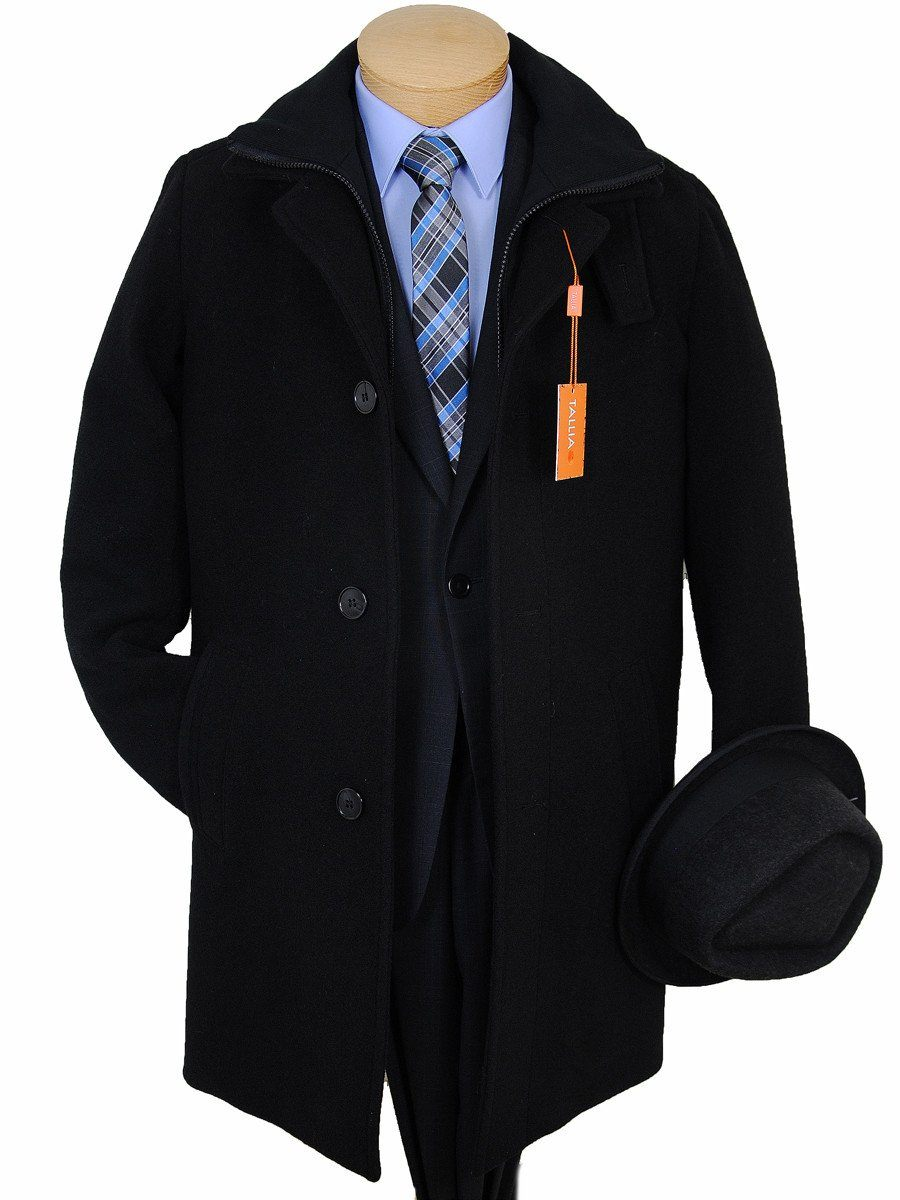 Boys Overcoat - Tallia - Black Wool Melton