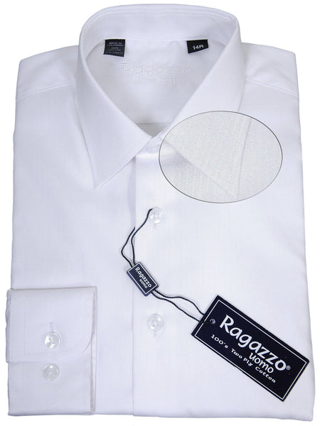 Ragazzo 17933 100% Cotton Boy's Dress Shirt - Tonal Stripe - White, Long Sleeve