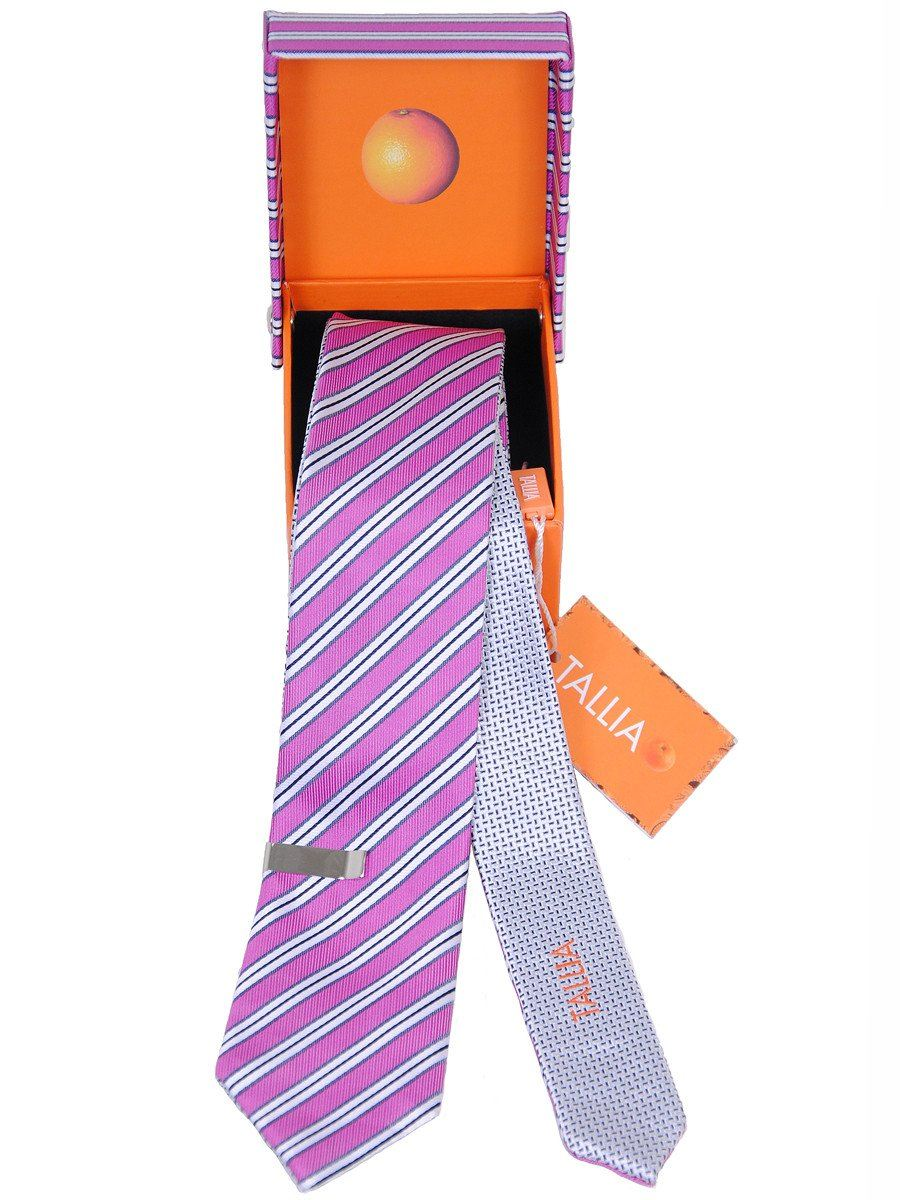 Boy's Skinny Tie 17980 Fuschia/Grey Reversible