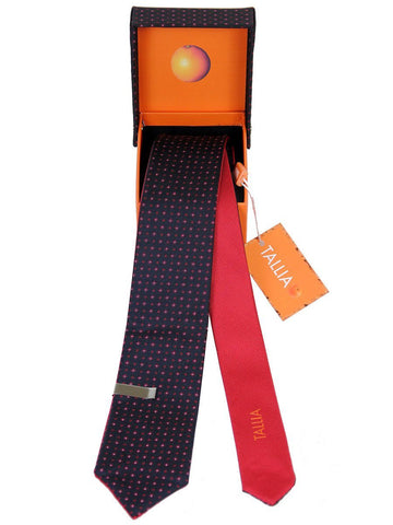 Boy's Skinny Tie 17981 Black/Red Reversible Boys Tie Tallia