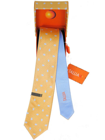 Boy's Skinny Tie 17983 Gold/Blue Reversible Boys Tie Tallia