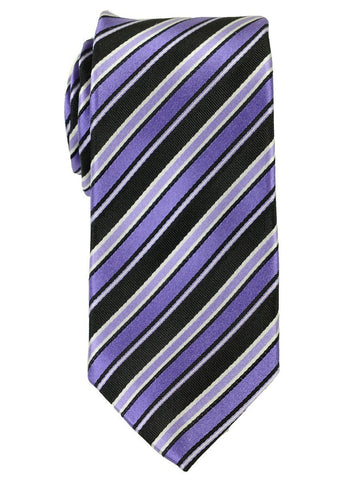 Heritage House 18161 100% Woven Silk Boy's Tie - Stripe - Black/Purple Boys Tie Heritage House