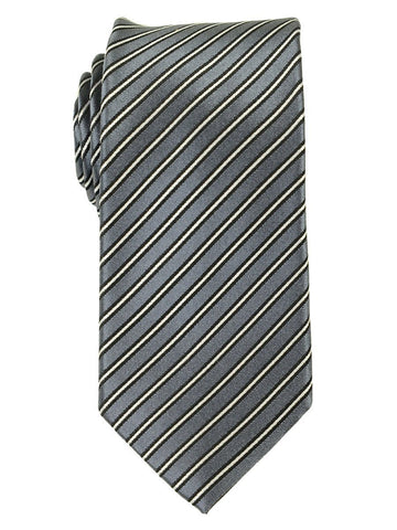 Heritage House 18167 100% Woven Silk Boy's Tie - Stripe - Grey/Black/White Boys Tie Heritage House